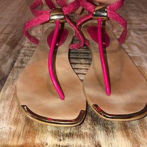 Isola Pink Snakeskin Thong 10
